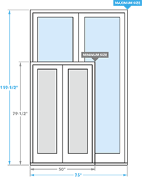 size chart image for architect series hinged patio doors